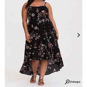 Torrid Black Floral Hi-Lo Maxi Dress Size 0 (12)